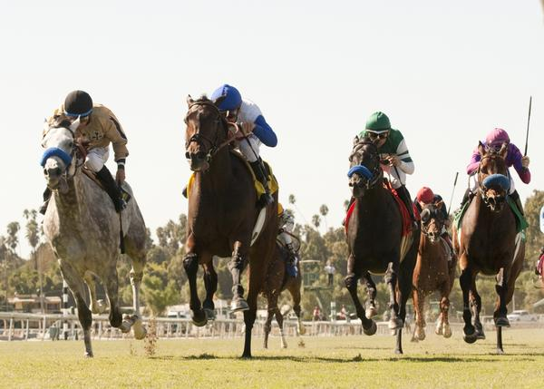 No Jet Lag, second from left, and jockey Mike Smith hold off He Be Fire N Ice, left, and jockey Victor Espinoza, and Barocci, second from right, ridden by Corey Nakatini, and Obviously, right, ridden Joe Talamo, to win the City of Hope Mile grade 2 stakes at Santa Anita Park on Oct. 5, 2013