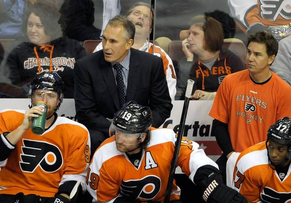 Craig Berube was behind the bench as head coach for the first time Tuesday as the Philadelphia Flyers got their first victory of the season, beating the Florida Panthers 2-1.