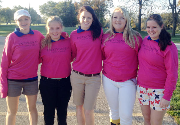 The Petoskey High School girls varsity golf team closed the 2013 season Thursday at the Division II regional tournament at Currie West in Midland with an eighth place finish at the 12-team tournament. Team members are (from left) Tai Miller, Alena Chapdelaine, Ellie Hoch, Gracelyn Howard and Emily Kurburski.