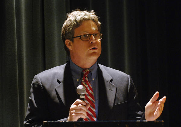 Branford resident Ted Kennedy Jr. spoke at an anti-war meeting at the Clinton Town Hall in 2007.