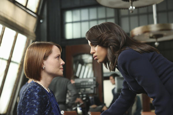 "Samantha Sloyan (left) and Kerry Washington share a scene on ""Scandal."""
