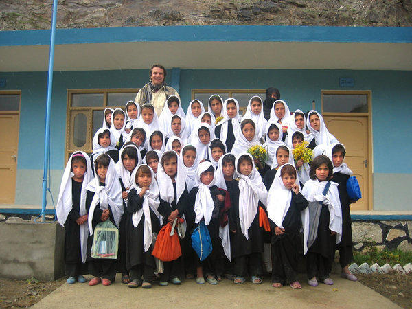 Greg Mortenson in 2005 at the Lalander village school in Char Asiab valley, central Afghanistan.