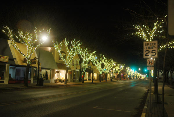 This image, taken in November of 2012 shows the most recent version of the downtown Charlevoix tree light display shortly after it was installed. The area at the far right, just into East Park on the east side of Bridge Street between Clinton and Mason streets, is where the recently-approved additional lights will be added to the display.