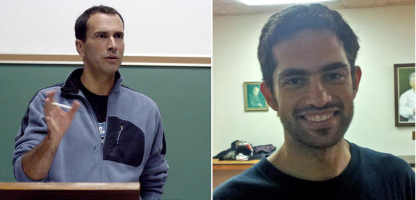 Canadian filmmaker John Greyson, left, and physician Tarek Loubani were reported to be on their way home Friday after they were released from an Egyptian jail.