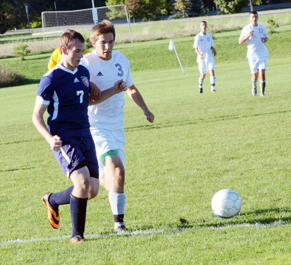 Charlevoix senior forward Nick Snabes (3) scored four goals and assisted on two others as the Rayders rolled past Northport, 8-0, Monday in a non-league match to improve to 13-2 on the season.
