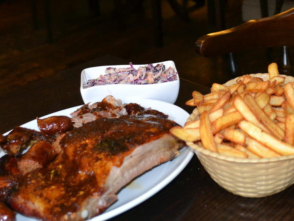 Sal's Smokehouse inside the Lion pub in Newbury, Britain, serves ribs, pulled pork and more as American-style barbecue.