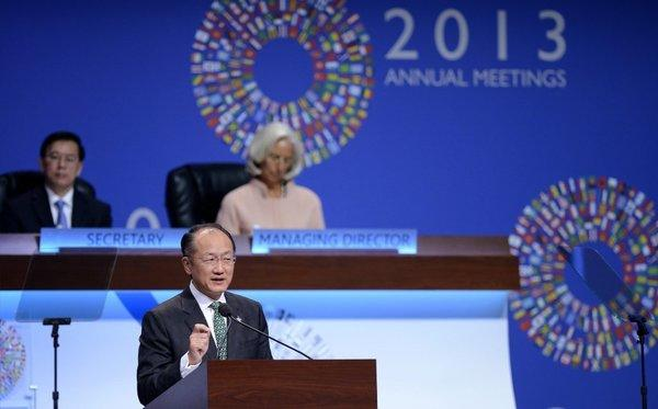 World Bank President Jim Yong Kim speaks at the annual meetings of the World Bank and the International Monetary Fund in Washington.