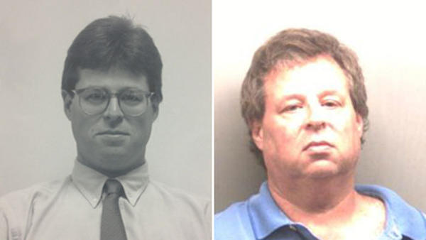 Left: Henry Centrella in a town photo from the early 1990s. Right: Department of Correction mugshot.