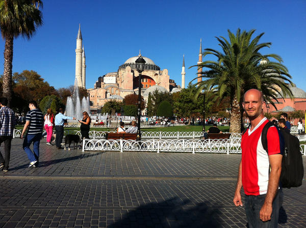 Leon Logothetis during a stop on his trip around the world, where he is relying on strangers for food, lodging and gas.
