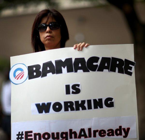 Supporter rallies for Obamacare in Miami.