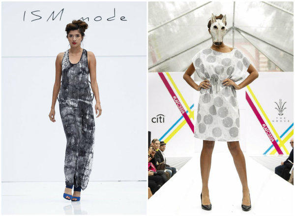 Shown are two looks from ISM Mode's spring 2014 runway show at the Grove earlier this week.
