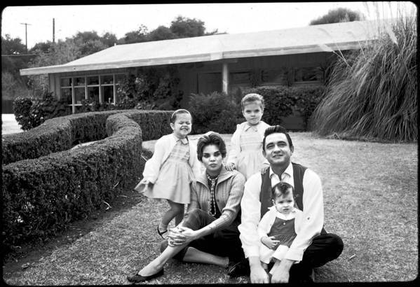 Johnny Cash moved his family to California in 1958 hoping to break into the movies. At their Encino home are Kathy, from left, wife Vivian, Rosanne and Cindy.