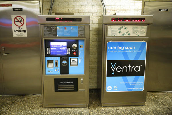Ventra kiosks at the Logan Square CTA Blue Line station in Chicago on Monday, Sept. 8, 2013. The CTA and Pace introduce their next-generation fare-payment system today, while beginning to phase out existing transit cards.
