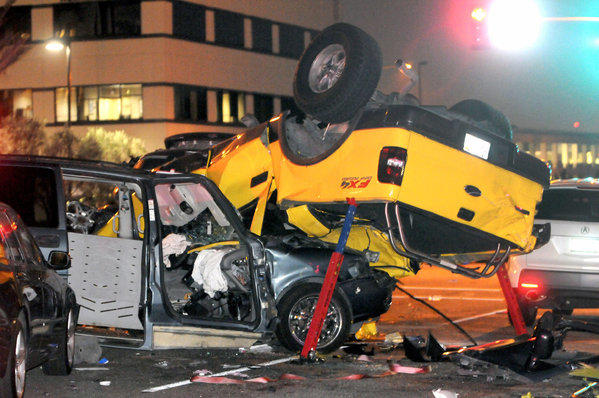 One person was killed and five others hurt in a crash at a Fullerton intersection.