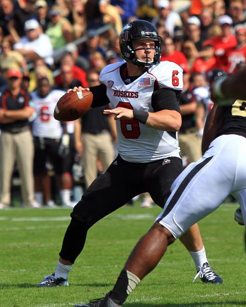 Northern Illinois quarterback Jordan Lynch drops back to pass against Purdue.