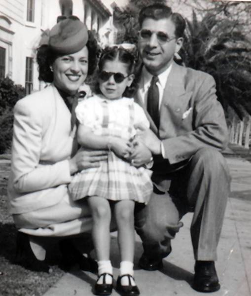 Elinor and Irving J. Stein with daughter Linda, 2-1/2, in Los Angeles after the war.