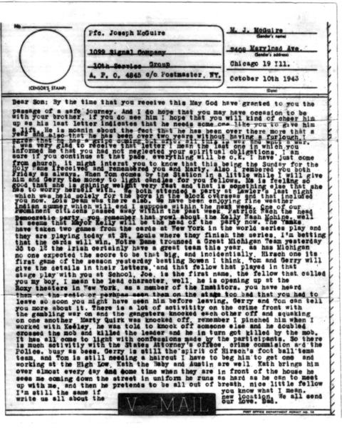 The V-Mail (Victory Mail) that Martin 'Mugsy' McGuire sent to his son Jack McGuire in October 1943, while his son was serving in England with the U.S. Army Air Corps. Courtesy of Jack McGuire