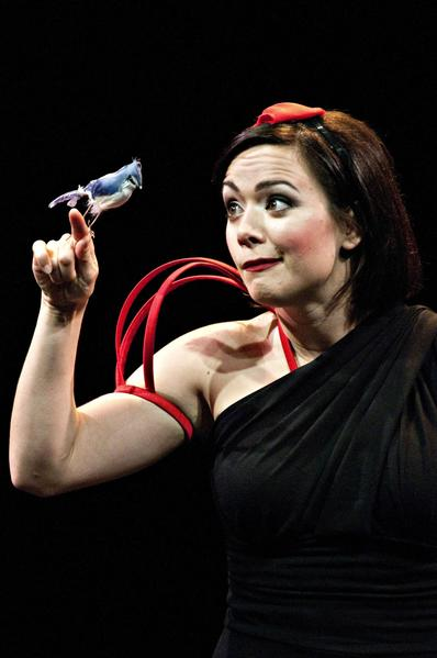 "Michelle Knight as Snow White, with feathered friend, in ""Disenchanted."""