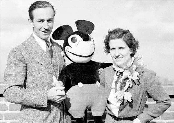 Walt Disney with his wife, Lillian, in 1935.