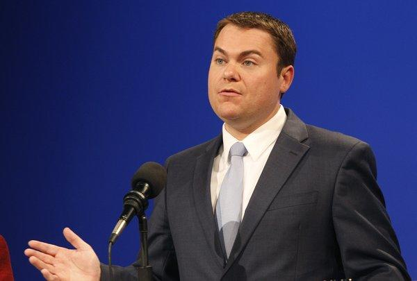 San Diego City Councilman Carl DeMaio shown in a debate during last year's mayoral campaign, won by Bob Filner. A political action committee apparently formed to hurt DeMaio's chances in that campaign has been fined $7,500 for violating campaign disclosure laws.