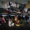 Taking shelter from Cyclone Phailin