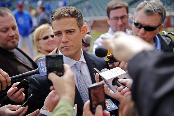 Theo Epstein, Cubs President, Baseball Operations, talks to the media in April at Wrigley.