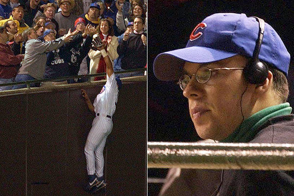 Steve Bartman interferes with Moises Alou's catch in the 8th inning of Game 6 in the NLCS vs. the Marlins on Oct. 14, 2003.