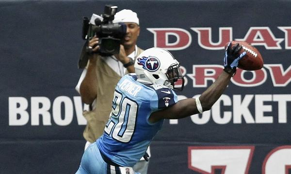Tennessee cornerback Alterraun Verner celebrates after scoring on an interception return against the Houston Texans last month. Verner has been a problem solver for the Titans' defense.