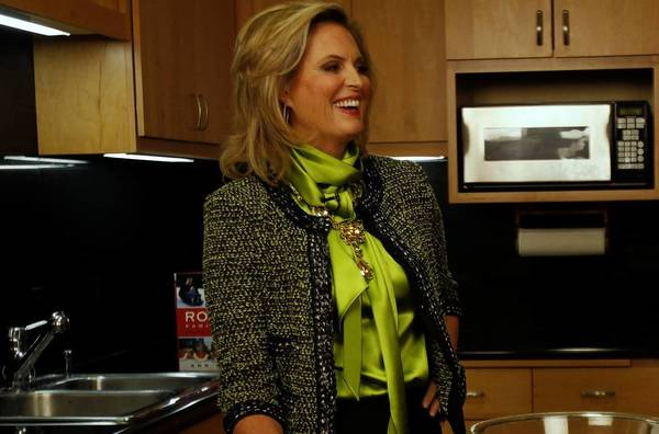 """Ann Romney visits the Los Angeles Times test kitchen to demonstrate her recipe for citrus salad as she promotes her new cookbook, """"The Romney Family Table."""""""