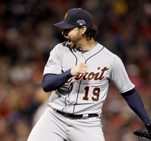 Tigers starter Anibal Sanchez reacts to striking out the Red Sox's Stephen Drew during sixth-inning action.