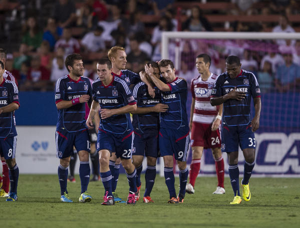 Mike Magee celebrates his goal against FC Dallas during the first half at Toyota Stadium.