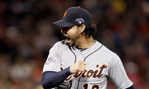 Detroit starter Anibal Sanchez celebrates after striking out Boston's Stephen Drew during the Tigers' 1-0 victory Saturday in Game 1 of the American League Championship Series.