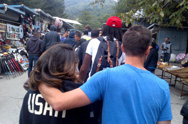 Steve Nash and his girlfriend follow Jordan Hill and other Lakers teammates through a market on the way to the Great Wall of China on Sunday.