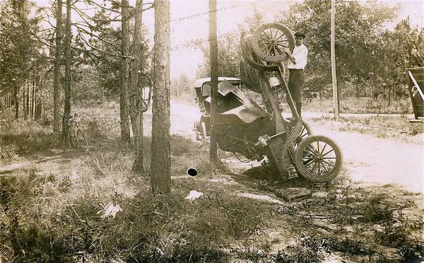 Donald A. Cheney, a pioneer in preserving Orange County's past, documented his auto accident in 1909, when the Ford Runabout he was driving struck a pothole. His brother, Joe, suffered a broken collarbone.