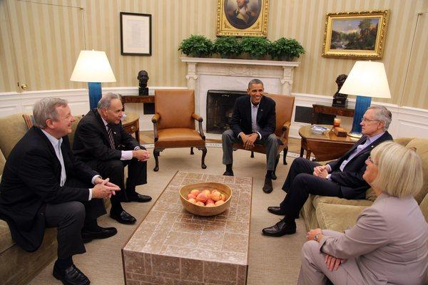 President Obama meets in the Oval Office with Senate Democratic leaders, left to right, Richard Durbin, Charles Schumer, Harry Reid and Patty Murray.