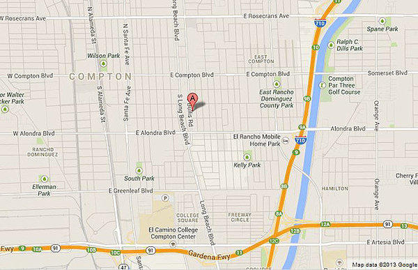 Map shows the approximate location in Compton where a sheriff's deputy pulled a woman from a burning garage.