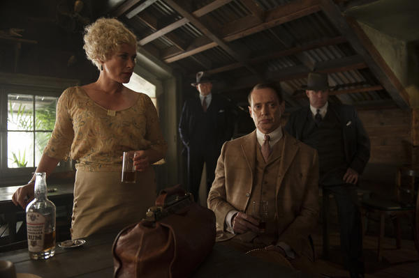 "Speakeasy owner Sally Wheet (Patricia Arquette) and gangster Nucky Thompson (Steve Buscemi) begin a rowdy affair on ""Boardwalk Empire."""