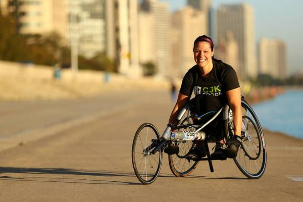 Susan Katz, who competed in the Ironman triathlon in Hawaii, poses for a portrait earlier this month along Chicago's lakefront, where she trains.