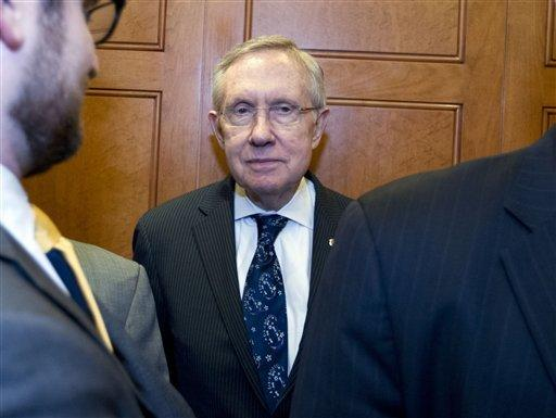 Senate Majority Leader Harry Reid of Nevada takes the elevator after a rare Senate session on Capitol Hill.