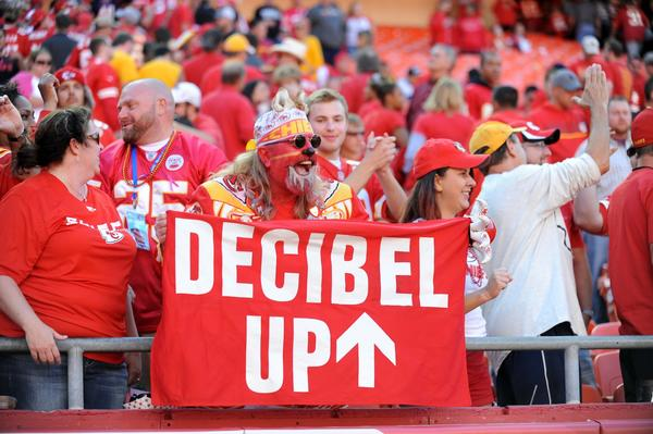Chiefs fans cheer during the second half of the game against the Raiders at Arrowhead Stadium. The Chiefs won 24-7.