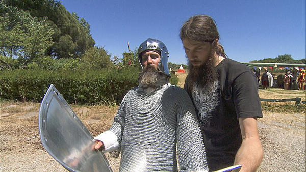 Bearded buddies Adam and Brandon shield themselves for their next clue.