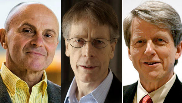 Economic scientists Eugene F Fama, left, Lars Peter Hansen and Robert J Shiller were announced as the Nobel laureates in Economic Sciences 2013 at the Royal Swedish Academy of Sciences, Stockholm today. The trio won the Nobel Economics Prize for groundbreaking work on trendspotting in asset markets, the jury said.
