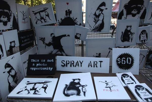 Banksy, the anonymous British street artist, said on his website that he set up an art stall on Sunday in New York's Central Park.