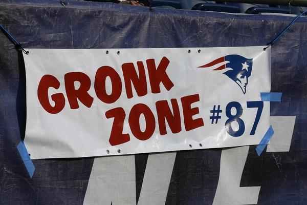 A sign on the wall at Gillette Stadium before the news that New England Patriots tight end Rob Gronkowski (87) would not play in the game against the New Orleans Saints.