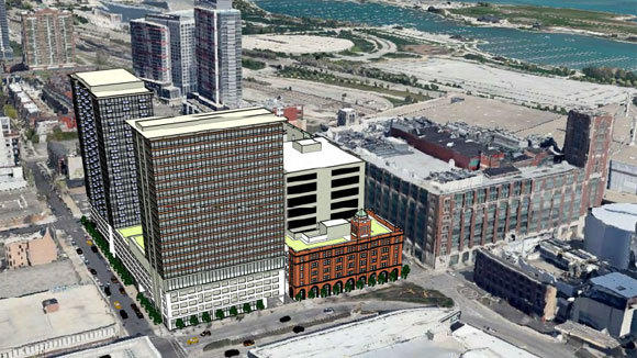 A rendering in the real estate listing shows the potential uses for a block across Cermak Road from the planned DePaul arena at McCormick Place.