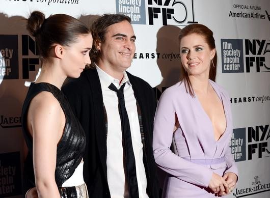 "Actors Rooney Mara, left, Joaquin Phoenix and Amy Adams attend the 51st annual New York Film Festival closing night screening of ""Her."""