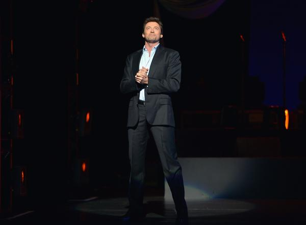 """Hugh Jackman performs onstage during """"Hugh Jackman... One Night Only"""" benefiting MPTF at Dolby Theatre."""