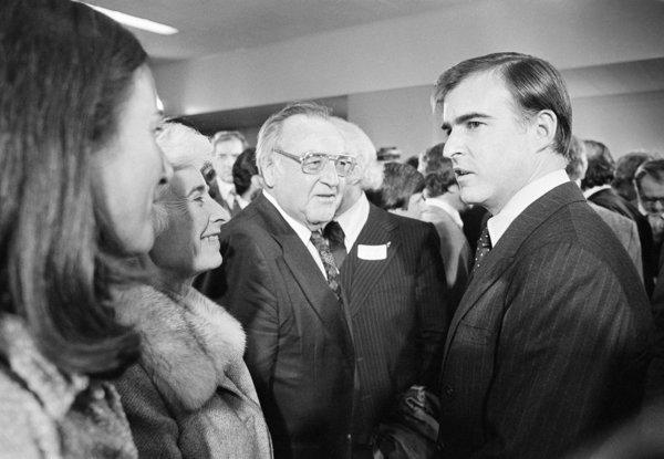 Gov. Jerry Brown, right, joins his parents, including former Gov. Pat Brown, after being sworn in to his second term as governor on Jan. 8, 1979. Jerry Brown has become the longest-serving California governor in history.