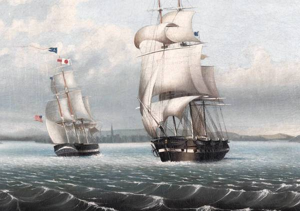 """Ship Alert, New London,"" 1848 John Ewen, Jr. (American, active mid-19th century) Oil on canvas Part of the exhibit ""Greasy Luck"" at Lyman Allyn Art Museum in New London."