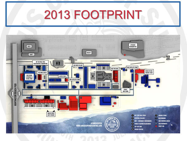 A rendering of the layout for the 2013 U.S. Open of Surfing in Huntington Beach.